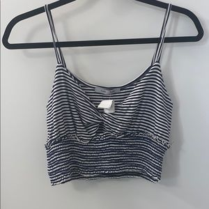 Tops - NWT blue and white striped crop top with twist